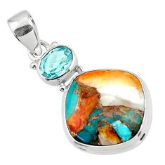 13.67cts spiny oyster arizona turquoise topaz 925 sterling silver pendant r47887