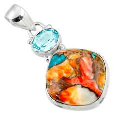 14.90cts spiny oyster arizona turquoise topaz 925 sterling silver pendant r47890