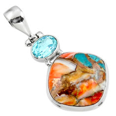 14.95cts spiny oyster arizona turquoise topaz 925 sterling silver pendant r47898