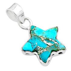 6.19cts star blue copper turquoise 925 sterling silver pendant jewelry t50645