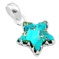 7.01cts star blue copper turquoise 925 sterling silver pendant jewelry t50648