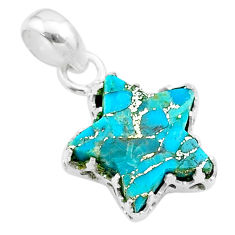 6.88cts star blue copper turquoise 925 sterling silver pendant jewelry t50650