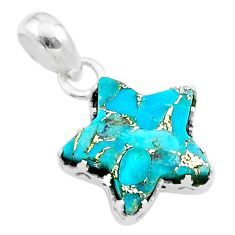 7.66cts star blue copper turquoise 925 sterling silver pendant jewelry t50651