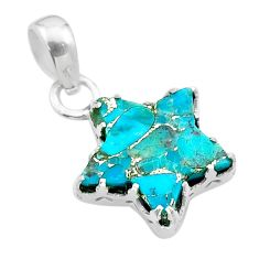 7.24cts star blue copper turquoise 925 sterling silver pendant jewelry t50652