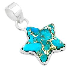 6.63cts star blue copper turquoise 925 sterling silver pendant jewelry t50656