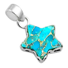 6.48cts star blue copper turquoise 925 sterling silver pendant jewelry t50660