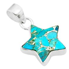 6.61cts star blue copper turquoise 925 sterling silver pendant jewelry t50662