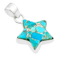 7.30cts star blue copper turquoise 925 sterling silver pendant jewelry t50664
