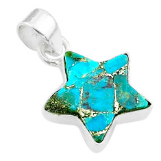 7.01cts star blue copper turquoise 925 sterling silver pendant jewelry t50666