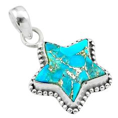 6.10cts star blue copper turquoise 925 sterling silver pendant jewelry t50671