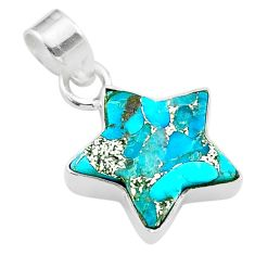 7.39cts star blue copper turquoise 925 sterling silver pendant jewelry t50672
