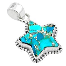 6.57cts star blue copper turquoise 925 sterling silver pendant jewelry t50673