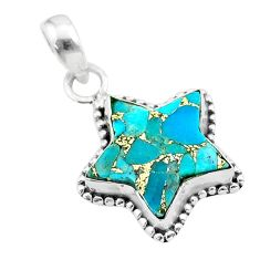 6.27cts star blue copper turquoise 925 sterling silver pendant jewelry t50679