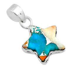 6.59cts star blue spiny oyster arizona turquoise 925 silver pendant t50649