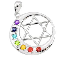 Star of david moon natural gems healing energy 925 silver chakra pendant r65373