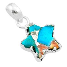 6.19cts star spiny oyster arizona turquoise 925 sterling silver pendant t50653