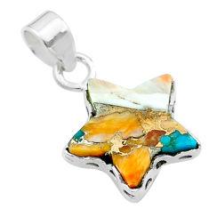 7.01cts star spiny oyster arizona turquoise 925 sterling silver pendant t50655