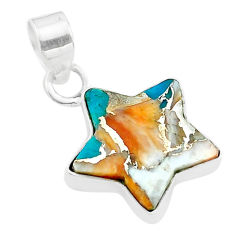 7.30cts star spiny oyster arizona turquoise 925 sterling silver pendant t50675