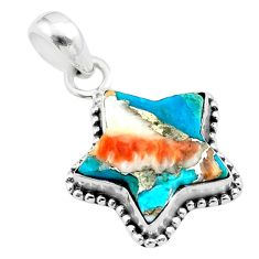 6.85cts star spiny oyster arizona turquoise 925 sterling silver pendant t50677