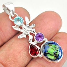 7.17cts sterling opal 925 sterling silver angel wings fairy pendant r84584
