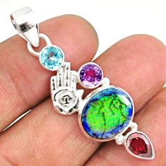 8.03cts sterling opal 925 sterling silver hand of god hamsa pendant r84559