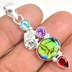 7.79cts sterling opal 925 sterling silver hand of god hamsa pendant r84569