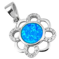 Sterling silver 1.73cts blue australian opal (lab) topaz pendant a92784 c24452