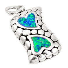 Sterling silver 2.72cts green australian opal (lab) heart pendant a92778 c24329