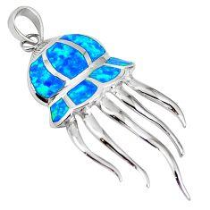 Sterling silver natural blue australian opal (lab) octopus pendant a61345 c15409
