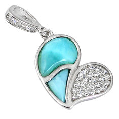 Sterling silver natural blue larimar topaz heart pendant jewelry a56900 c15357