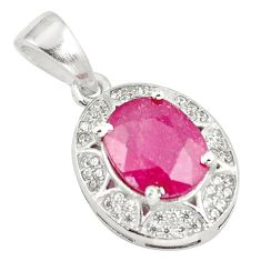 925 sterling silver 3.73cts natural red ruby oval white topaz pendant c18166