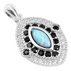 Sterling silver 4.59cts pink australian opal (lab) topaz pendant a96649 c24387