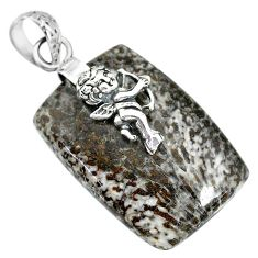 Clearance Sale- y coral from alaska 925 silver cupid angel wings pendant r91362