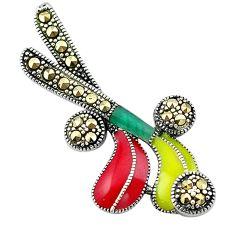 Swiss marcasite enamel 925 silver hockey stick charm pendant jewelry c21876