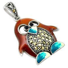 Swiss marcasite enamel 925 sterling silver penguin pendant jewelry c21863