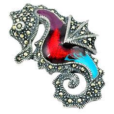 Swiss marcasite enamel 925 sterling silver seahorse pendant jewelry c18898