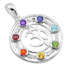 2.58cts symbol om amethyst cornelian topaz garnet silver chakra pendant t50426