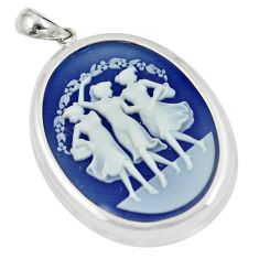 24.92cts three muses dancing cameo 925 sterling silver pendant jewelry c21301