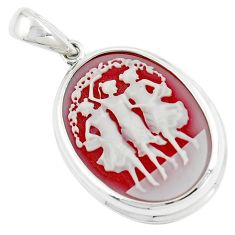 26.68cts three muses dancing cameo 925 sterling silver pendant jewelry c21321