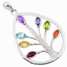 Tree of life healing garnet citrine peridot 925 silver chakra pendant r65416