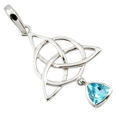 Triquetra - trinity knot blue topaz 925 sterling silver pendant jewelry r43544