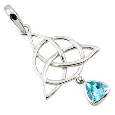 Triquetra - trinity knot blue topaz 925 sterling silver pendant r43526