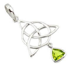 Triquetra - trinity knot green peridot 925 sterling silver pendant r43547