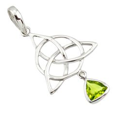 Triquetra - trinity knot green peridot 925 sterling silver pendant r43549