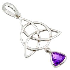Triquetra - trinity knot natural amethyst 925 sterling silver pendant r43532