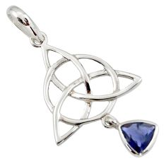 Triquetra - trinity knot natural blue iolite 925 sterling silver pendant r43559