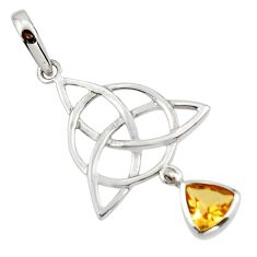 Triquetra - trinity knot natural citrine 925 sterling silver pendant r43524