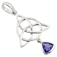 Triquetra - trinity knot natural iolite 925 sterling silver pendant r43521