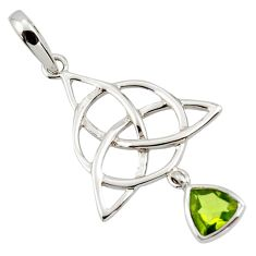 Triquetra - trinity knot natural peridot 925 sterling silver pendant r43535