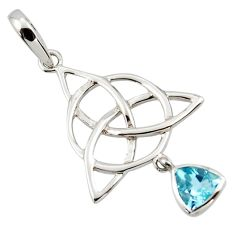 Triquetra - trinity knot natural topaz 925 sterling silver pendant r43527